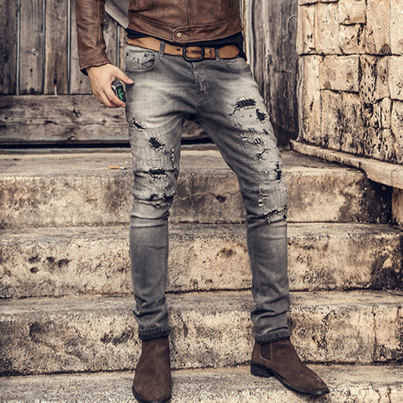 Men retro washed slim straight casual button fly ripped holes jeans pants male micro elasticed hip hop grey winter jeans K786-in Jeans from Men's Clothing    1