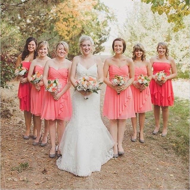 b2a8b87132 US $62.22 |Aliexpress.com : Buy Vestido De Bridesmaid 2017 Wedding  Bridesmaid Dress Hot Selling Sexy Pleated Knee Length Cheap Coral  Bridesmaids ...