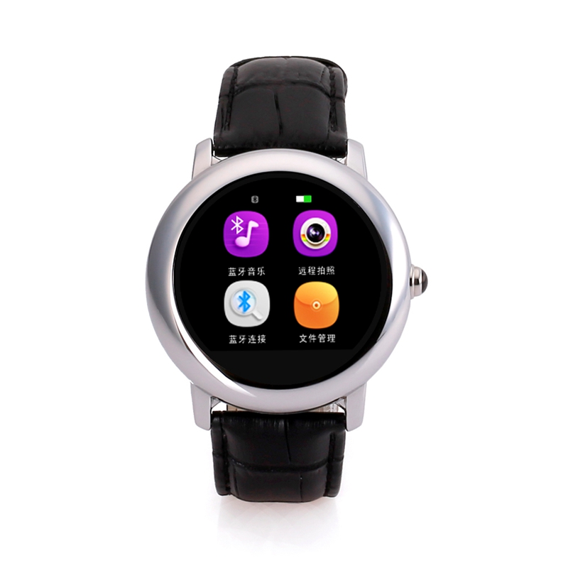 Luxury Leather Smart Watch Android Bluetooth Waterproof Fitness Support Mic Sim Pedometer Remote Camera Alarm Reloj