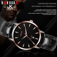 FOTINA Clearance JK Watch Men Rose Gold 7.8mm Ultra Thin Couple Women Watch Sport Genuine Leather Black Watch Thin Wristwatch