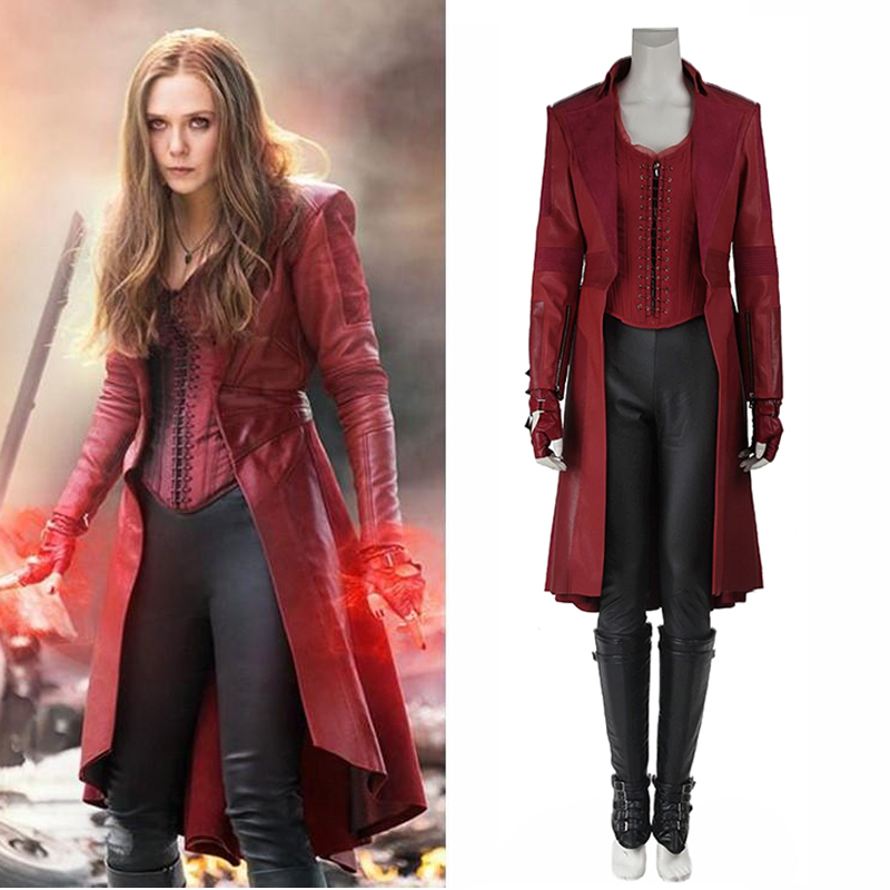 Scarlet Witch Wanda Maximoff Costume Leather Jacket Captain America 3 Civil War Cosplay Adult Women Halloween Outfit Custom Made