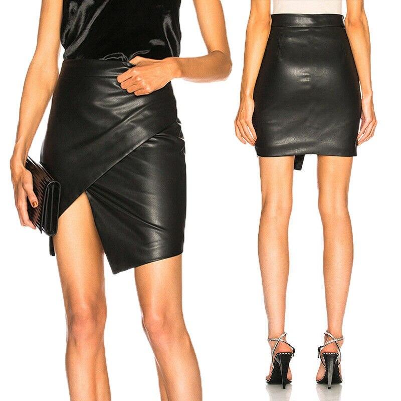 Winter Fall Women's Elegant Leather Pencial Skirts Sexy High Waist Skirts Asymmetric Hem Black Skirts