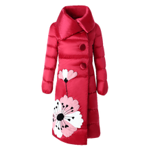 Women winter down coat long style 2018 new lapel patch embroidered white duck down jacket flower warm parkas hooded plus size цены онлайн
