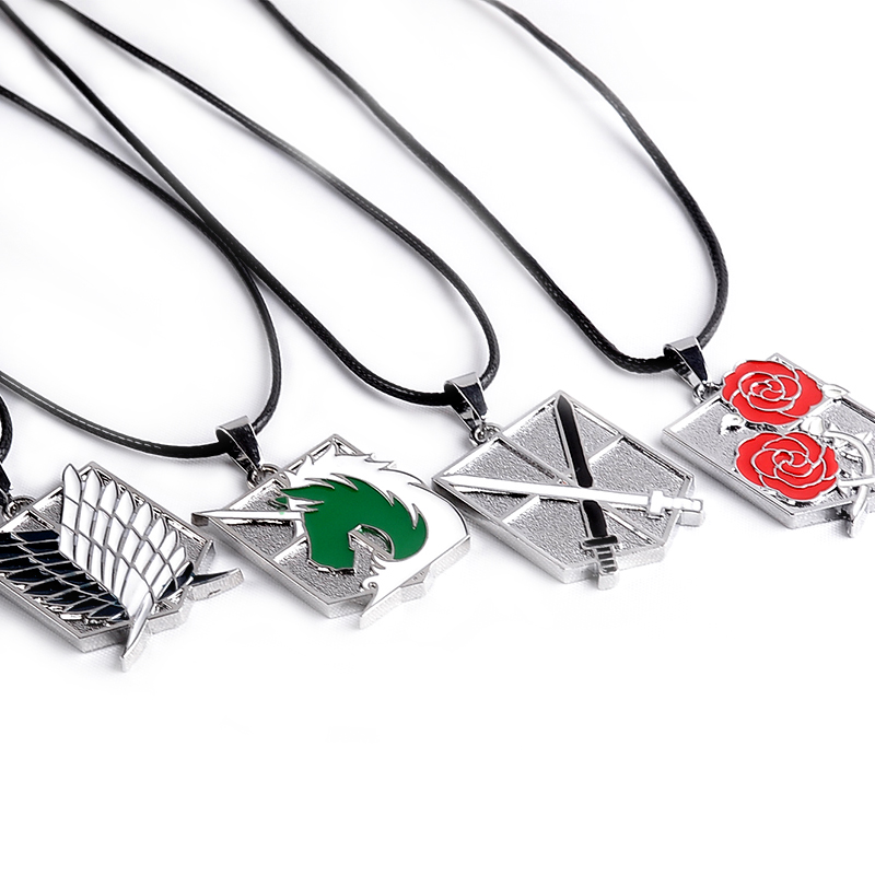 Hot Anime Necklace Attack on Titan Metal Pendant Necklace Wings of Liberty Stationary Guard LOGO Key Necklace Rope Chain Jewelry