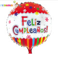 2016 New Arrival New Ballon Retail Spanish Feliz Cumpleanos Kids Adults Happy Party Decoration Colourful Round Foil Balloons