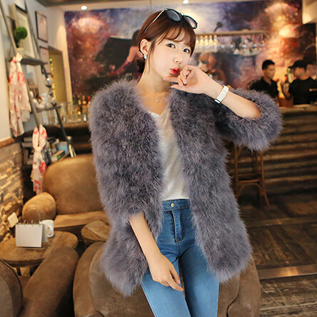 LET IMPOSTAZIONE vendita calda nuovo inverno cappotto di pelliccia del cappotto dei capelli Dello Struzzo delle donne Sottile più il formato del cappotto cappotto di pelliccia-in Pellicce vere da Abbigliamento da donna su  Gruppo 1