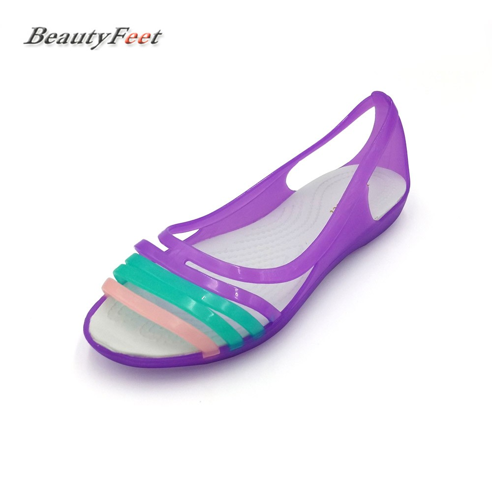 Black rainbow sandals with crystals - Sandalias Mujer Women Shoes Woman Sandals Rainbow Fish Mouth Leisure Shoes Female Eva Crystal Colorful Low