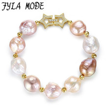 2017 Charms Bracelet AAA Grade 100% Real Natural Freshwater Pearls Baroque Bracelet 925 Sterling Silver Pearl Jewelry Gift
