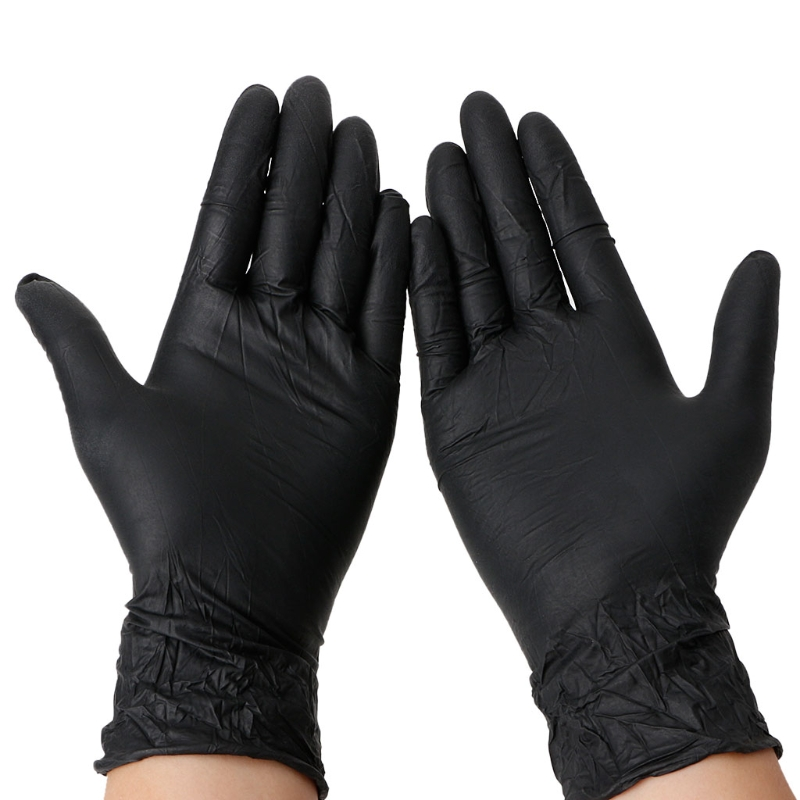 Free Shipping 50Pcs Blakc Disposable Power Free Nitrile Gloves Tattoo Mechanic Food Medical