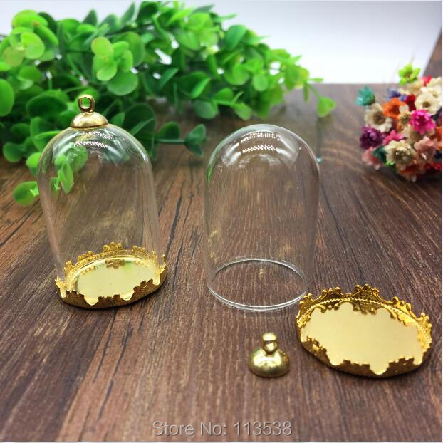 10sets/lot 38*25mm tube glass globe gole color crown base with 8mm metal cap glass vial pendant fashion glass pendant glass dome