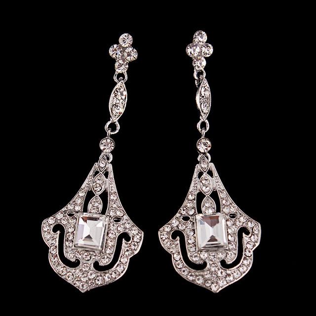 Aparência exótica Brincos de Cristal Flor de Prata Art Deco Marroquino Canalizado Pedra Quadrada Cúpula Aberta Retro Vintage Brinco Gota de Casamento