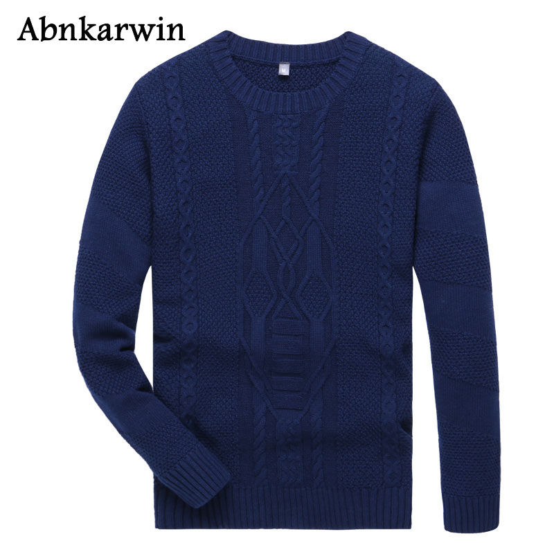 Men 2018 Winter Pullover Solid Sweaters Casual Cotton Knitted O-Neck Long Sleeve Sweater Boy Plus Size 3XL