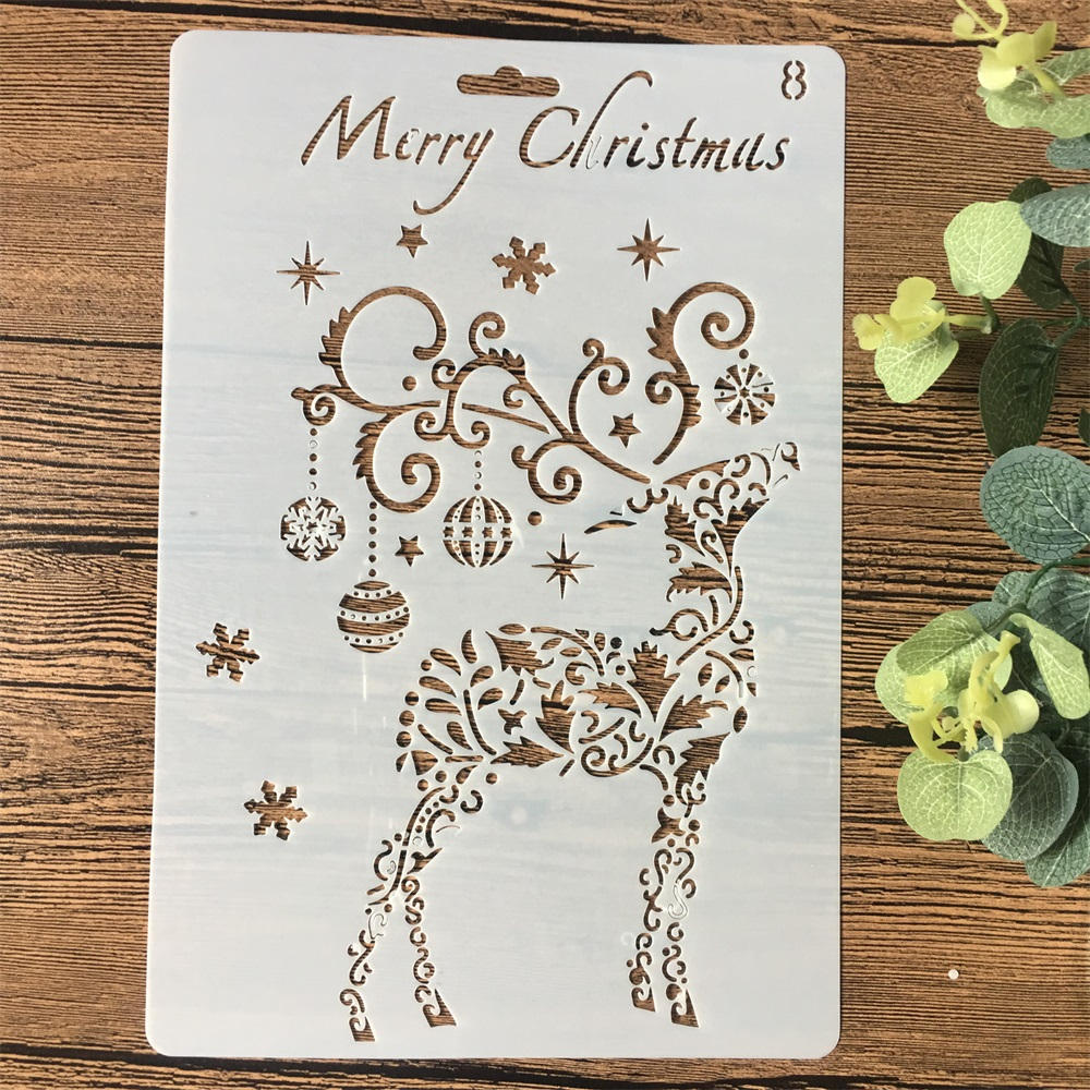 26cm Christmas Deer Bell DIY Craft Layering Stencils Wall Painting Scrapbooking Stamping Embossing Album Card Template
