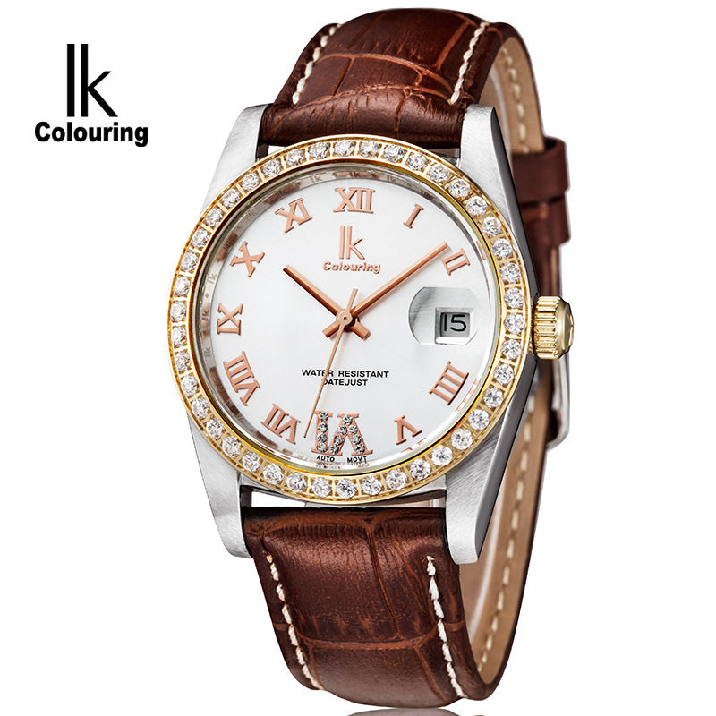 IK colouring Watch Men Luxury Famous Brand Automatic Mechanical Gold Rhinestones Brown Leather Men's Wrist watches Original Box makibes cjiaba gm0003 luxury leather strap analog automatic mechanical wrist watch for men black with box