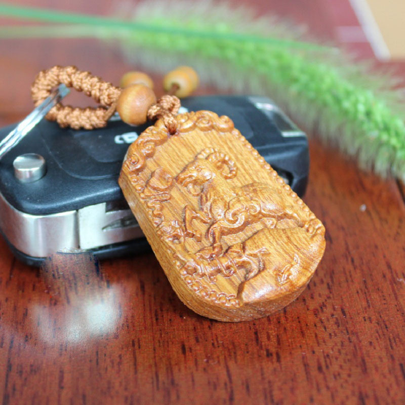 High grade rosewood carved Sheep Animal Keychain key chains pendant ornaments For Women and Men Gift