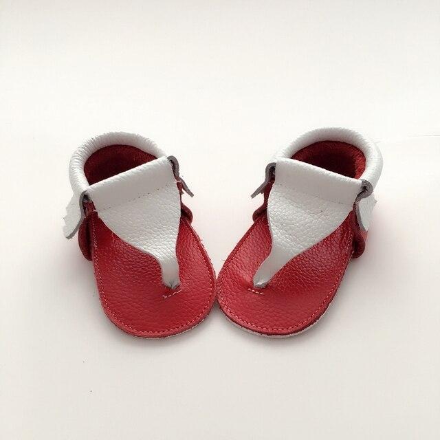 Ручной Белый и Красный Ребенок Сначала Ходунки Натуральной Кожи Летом обуви