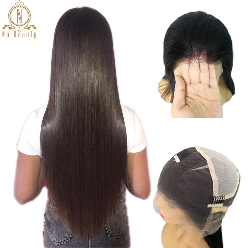 Transparent Full Lace Wigs Glueless Pre Plucked Natural Hairline With Baby Hair Straight Peruvian Remy Hair Wigs Bleached Knots