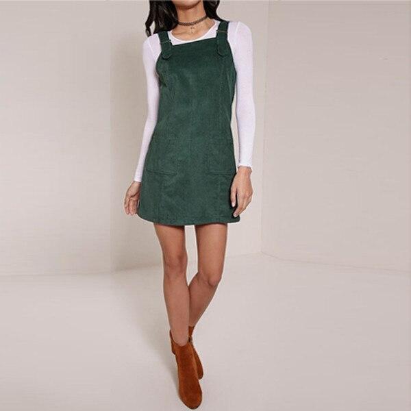 Vintage Women Dungaree Short Tank Dress Solid Color Plain Elegant Top Ladies Casual Corduroy Dresses Streetwear Plus Size 3XL