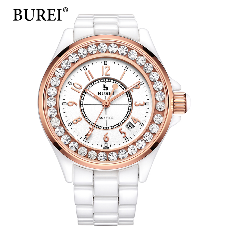 BUREI Women Watches Top Fashion Brand Diamond Sapphire Lens Date Clock Ceramic Band Female Digital Quartz Wristwatches Hot Sale burei luxury women watch fashion ceramic band watches sapphire glass quartz wristwatch waterproof lady clock montre femme