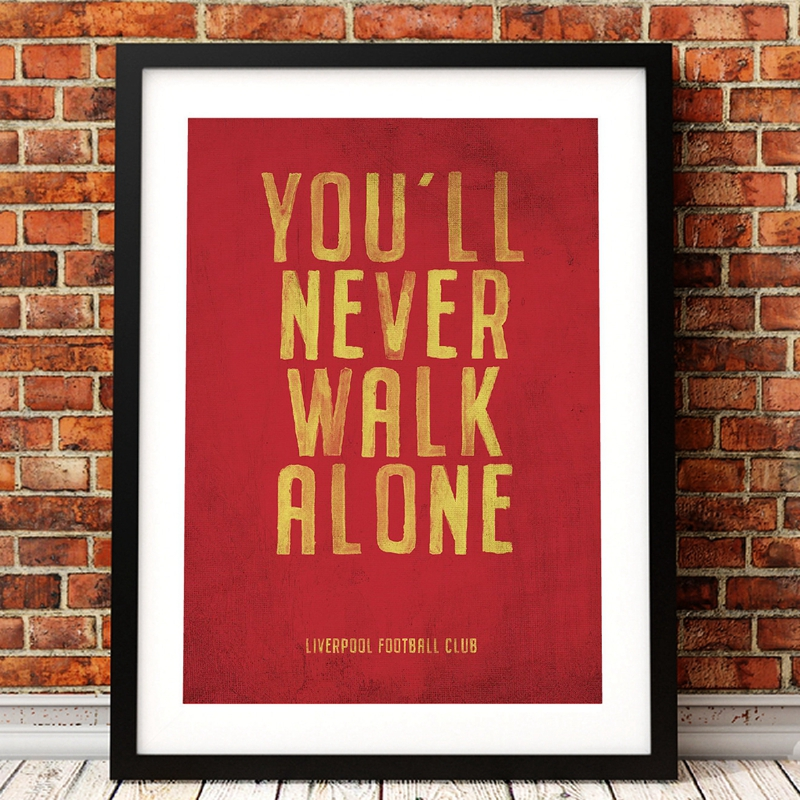 Liverpool FC Motto Vintage Poster Prints , You'll Never Walk Alone Canvas Art Painting Picture Home Boys Room Wall Decor