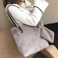 Women's Tote Large Capacity Shoulder Bag Real Fur Rabbit Fur Leisure Bags for women 2018 Shoulder Tote Bolsa femininaNB175