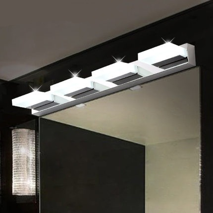 Waterproof Fog Led Mirror Light Modern Brief Stainless Steel Acrylic Bathroom Cabinet Lamp Wall