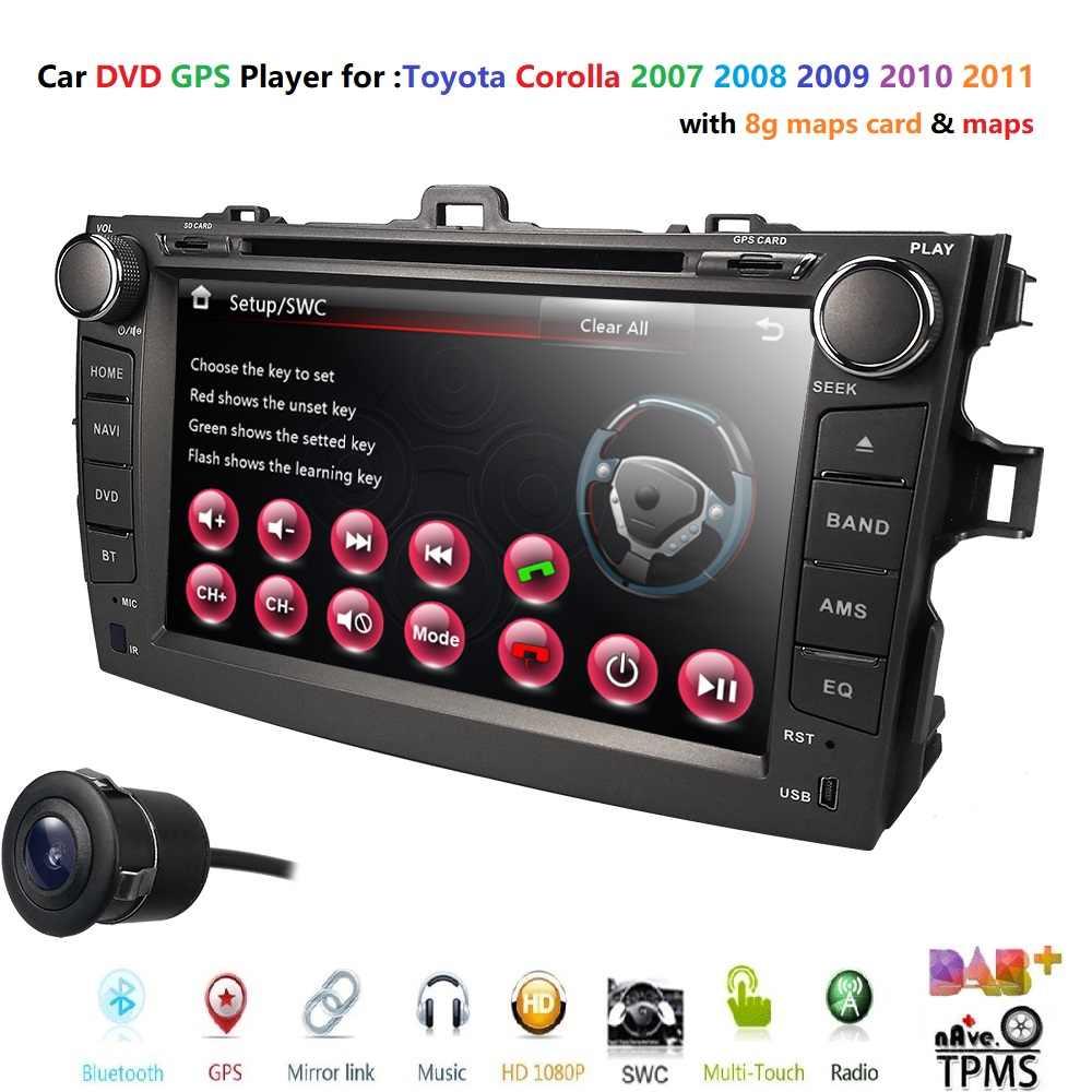 """8 """"сенсорный экран стерео радио автомобиля CD DVD плеер gps навигация для Toyota Corolla 2007-2011 авто, аудио TPMS DVBT dvd-плеер RDS DAB +"""