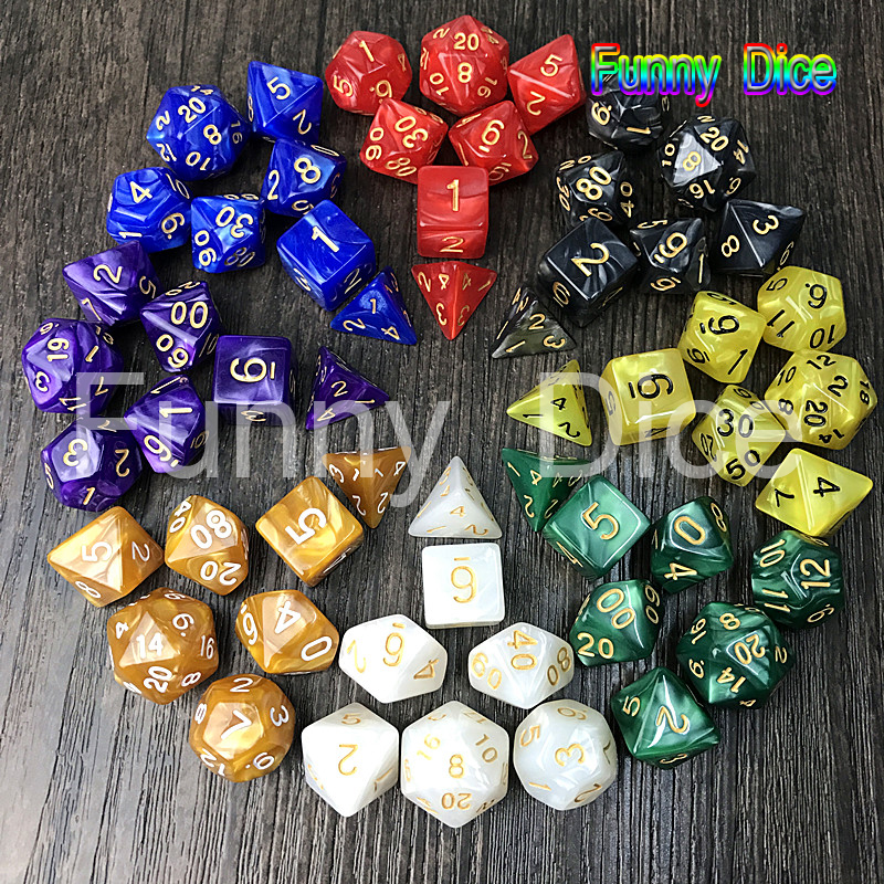 Pearlized dice 7pc/lot dice d4 d6 d8 d10 d10 d12 d20 High quality Multi-Sided Dice DUNGEON and DRAGONS Board game