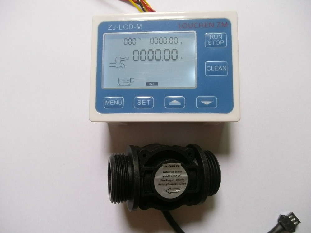 G1 Flow Water Sensor Meter Digital LCD Display Quantitative Control 1 60L min