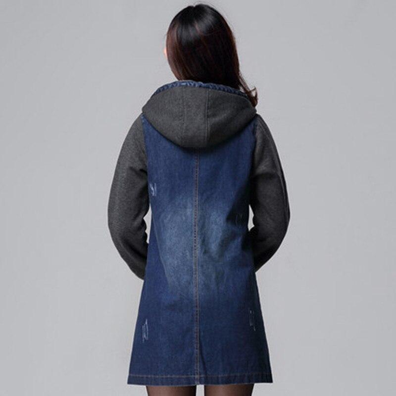 Slim Capuchon Denim Grand Casual La Outwear Robe Manteau Automne Jeans Femmes De Winte Nouveau Épais À Taille Blue Mode Plus Tranchée Pour SwPqnC