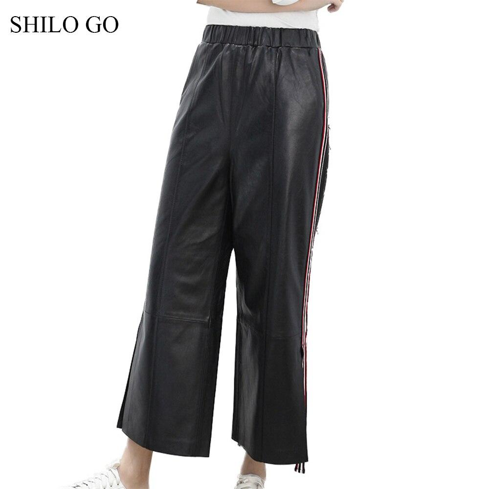 Femmes Mouton Lady Mode En Droit Haute Aller Peau Causal Office De Cuir Shilo Stretch Taille Printemps Pantalon Véritable wqICn1z