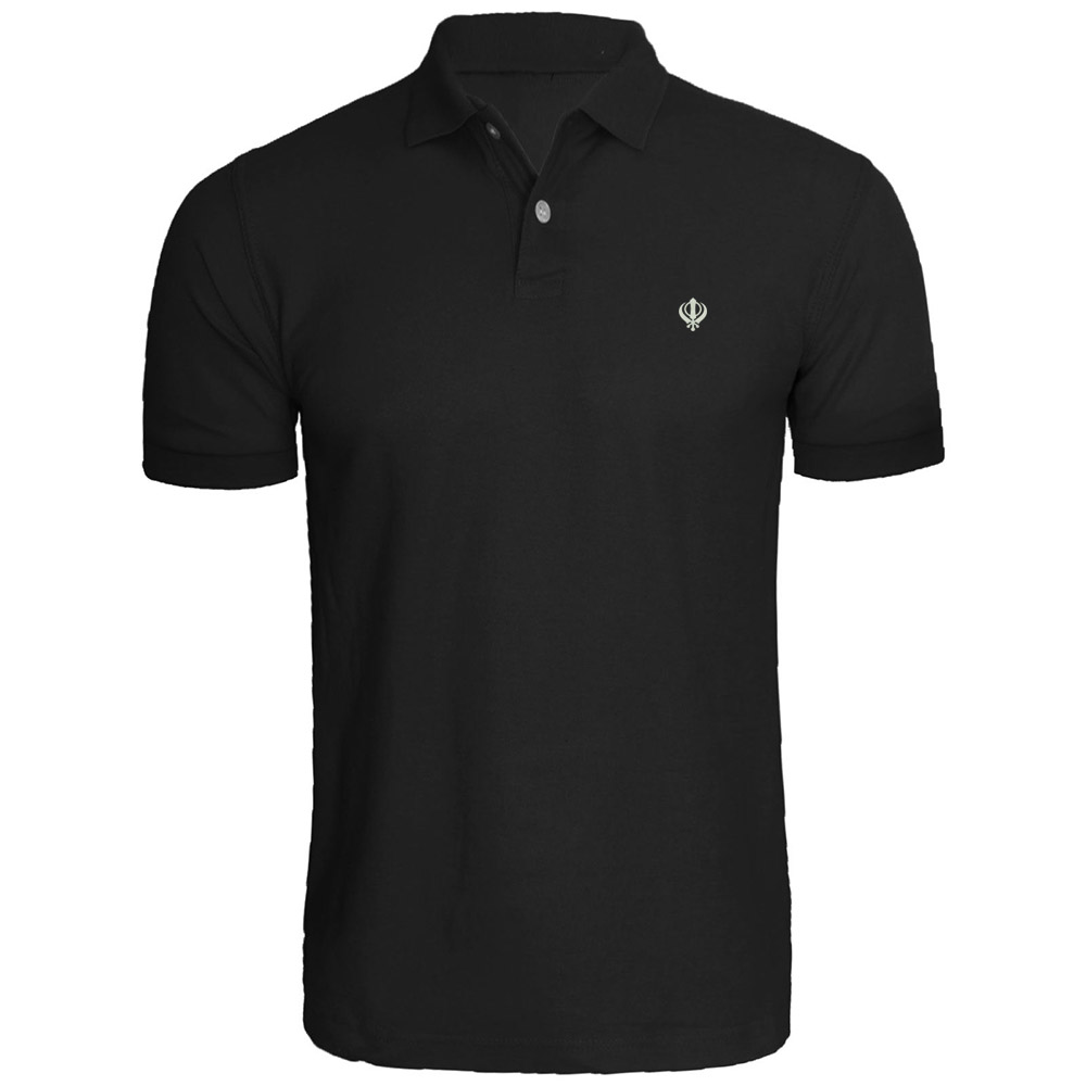 Mens SIKH KHANDA SYMBOL Embroidery Embroidered Polo Shirts