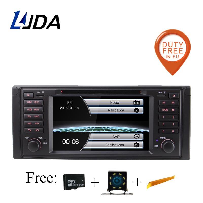 LJDA 1 Din dans le tableau de bord WINCE lecteur DVD de voiture pour BMW E39 X5 E53 M5 Radio GPS Navigation Audio volant stéréo multimédia Canbus