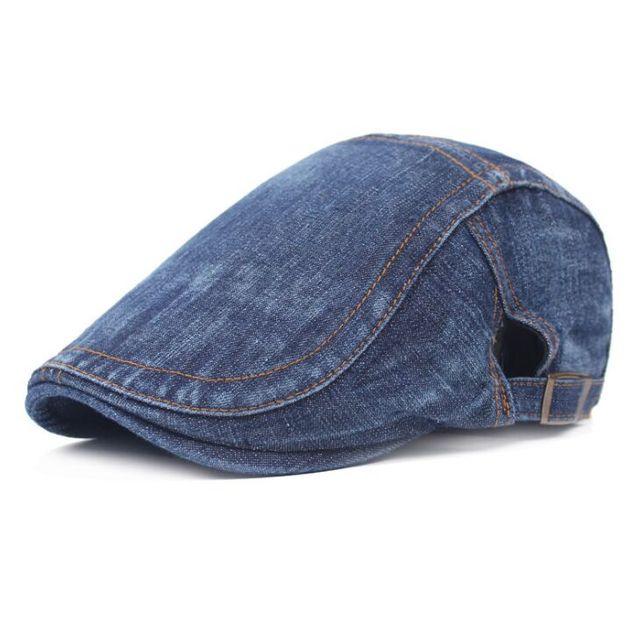 1427c4774b426 XIANJIE024 Hotsale Solid Flat Adjustable Beret Caps Demin Cotton Adult Men  Women Duckbill Hats Casquette Gorras