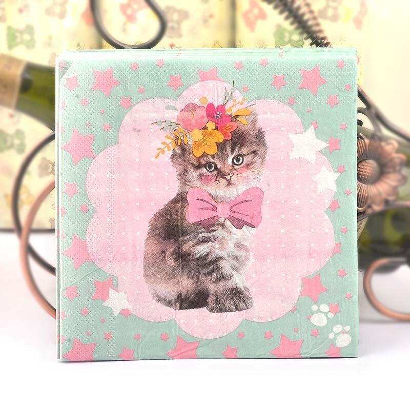 New Flower Stars Cat Cartoon Paper Napkins Cafe & Party Tissue Napkins Decoupage Decoration Paper 33cm*33cm 20pcs/pack/lot