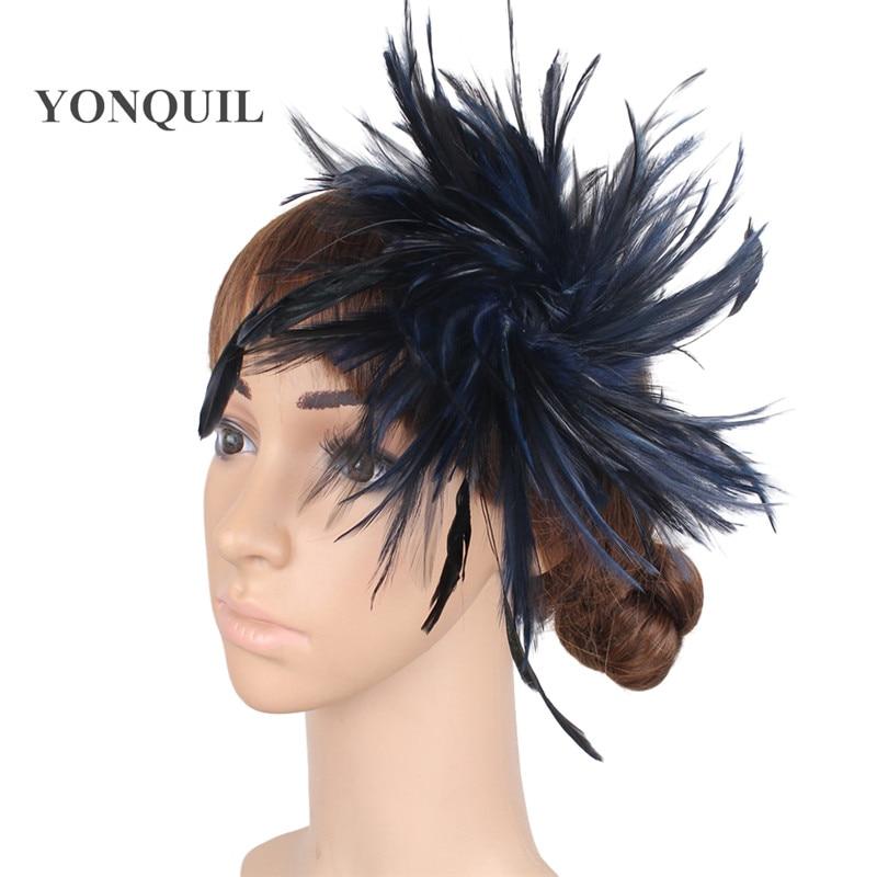 Várias cores headpiece pena alta qualidade fascinator chapéus com - Acessórios de vestuário - Foto 2