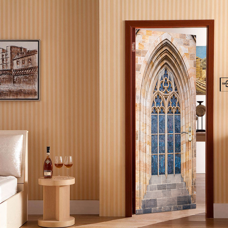 2pcs/set Most Popular Gothic Window Door Sticker Vinyl Removable Wallpaper Waterproof Art Decal Wall Decal For Living Room Decor