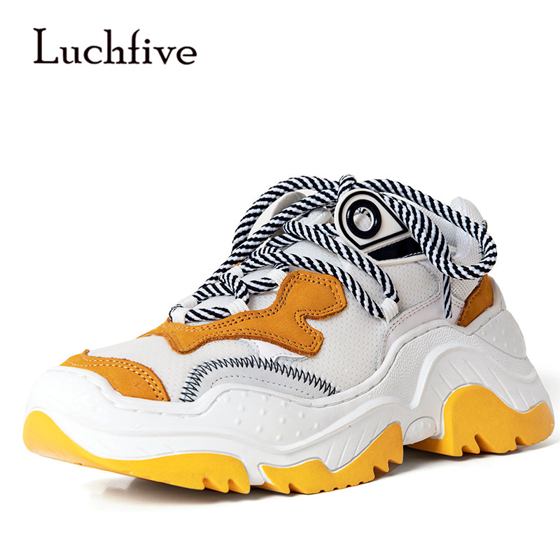 2018 Runway Loafer Shoes Woman Round Toe Lace Up Mesh Breathable Thick Bottom Casual Shoes Woman lace up breathable mesh athletic shoes