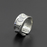 L&P Hot Sale 100% Real 925 Sterling Silver Vintage Rings for Men Women Lovers Buddhism in Tibet Lotus Sutra Ring Jewelry