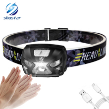 Rechargeable Body Motion Sensor LED Headlamp 3000Lumens Mini Headlight for Outdoor Camping Daily lighting with USB charging line