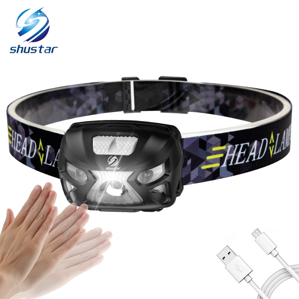 Rechargeable Body Motion Sensor LED Headlamp Waterproof Mini Headlight For Outdoor Camping Daily Lighting With USB Charging Line