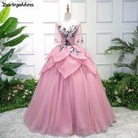Darlingoddess Vestido De Noiva 2018 New Design Pink Short Sleeves Wedding Dresses Ball Gown Backless Vintage Wedding Dress