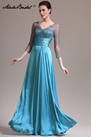 Popular V Neck Long Formal Women's Dress A Line 3/4 Sleeve Turquoise Satin Mother of the Bride Dress