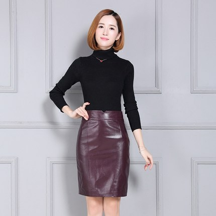 Image 3 - Women New Autumn and Winter Over the Knee Pure Genuine Sheep Leather Skirt K89Skirts