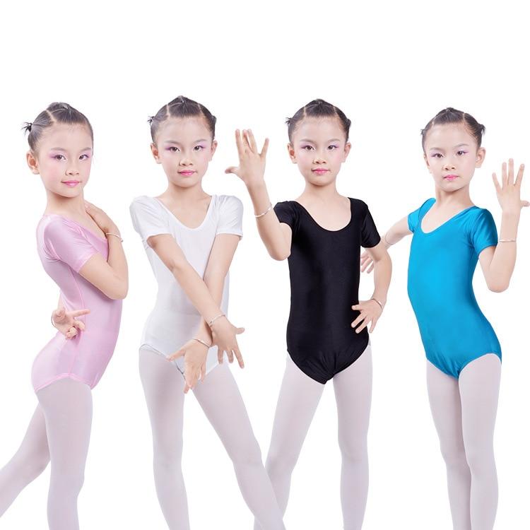 Kids Ballet Bodysuit Black Stretch Short Sleeved Leotards Girls Gymnastics Body Wear Children Ballet Jumpsuit Dance