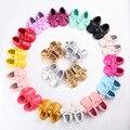 Hecho a mano Suave de Fondo 18 colores Populares de la Marca BEBÉ de LA PU de Cuero Zapatos Mocasines Zapatos Recién Nacidos Primeros Caminante Del Niño Del Bebé estrella Infantil
