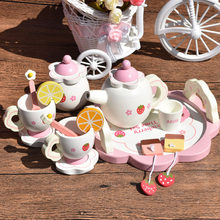 QWZ Baby Toys Tea Party Plates Mugs Cup Wooden Toys Pretend Play Kitchen Food Baby Infant Toys Food Birthday Christmas Gifts(China)