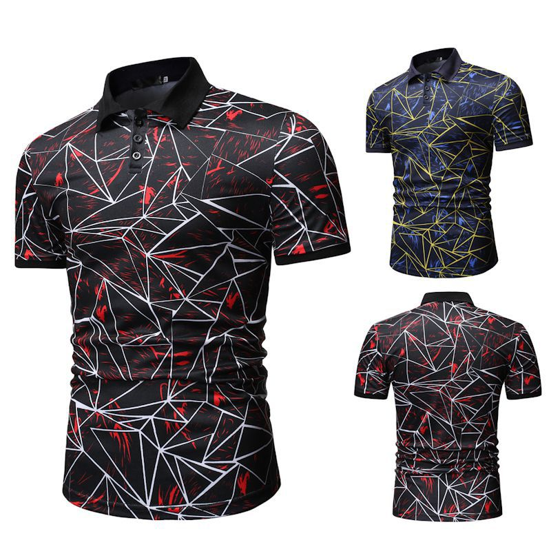 2019 New Men's Short-sleeved   Polo   Shirt Fashion Youth Color Line Print Lapel Shirt Men Fashion Top 1801-T525