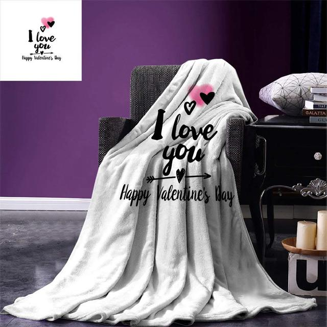 Romantic Throw Blanket Happy Valentine`s Day Themed Composition with Love Phrase Arrow and Heart Warm Microfiber Blanket