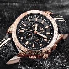 hot deal buy lige mens watches top brand luxury mens uniform sport wrist watches mens leather waterproof quartz watch relogio masculino+box